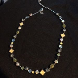 Lia Sophia Necklace Multi-Color Stones Silver